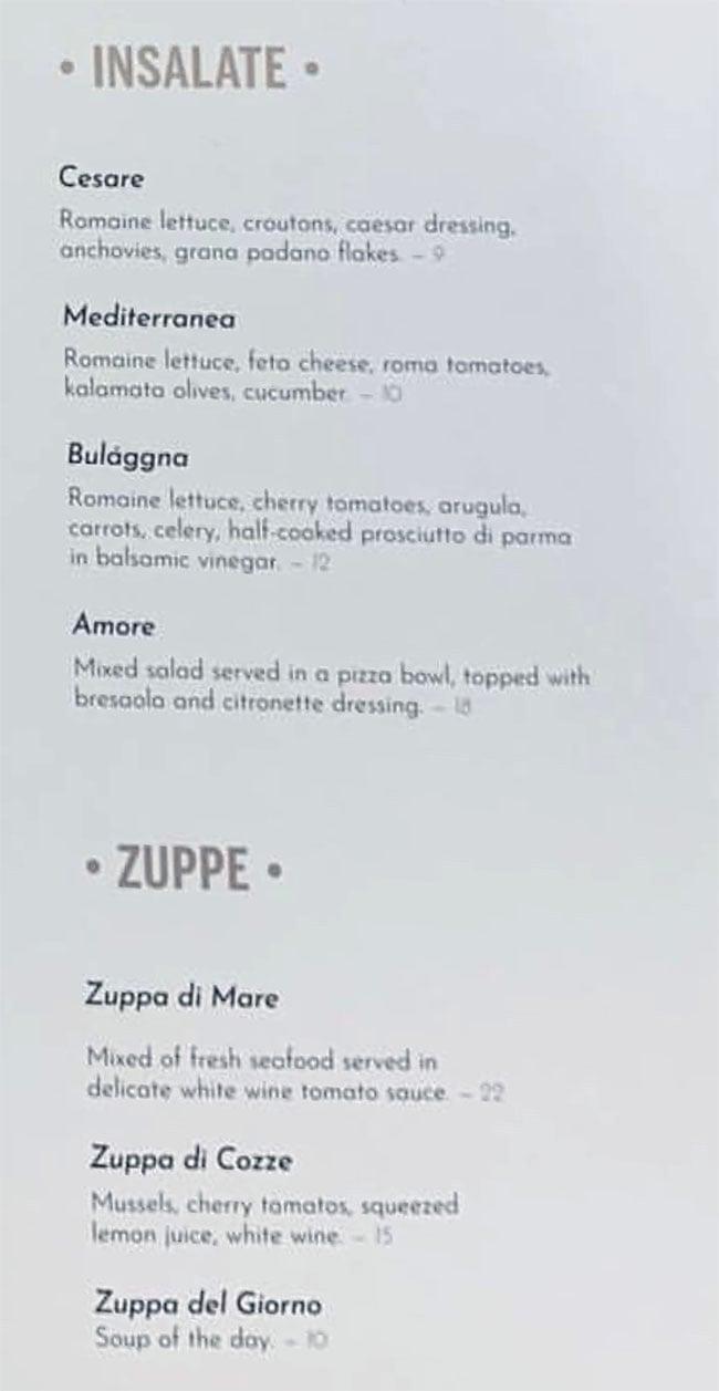Osteria Amore menu - insalate, zuppe