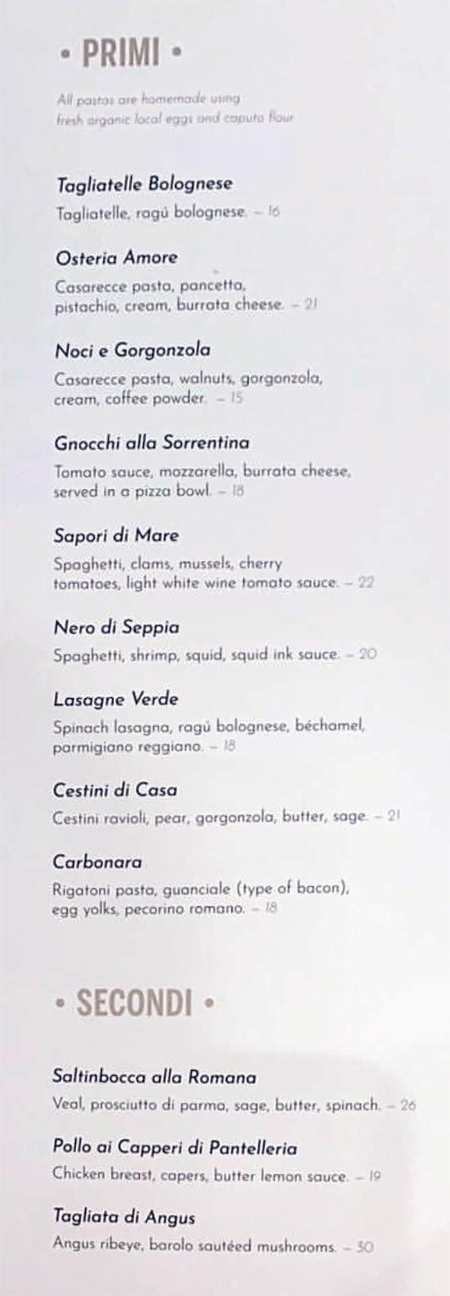 Osteria Amore menu - primi, secondi