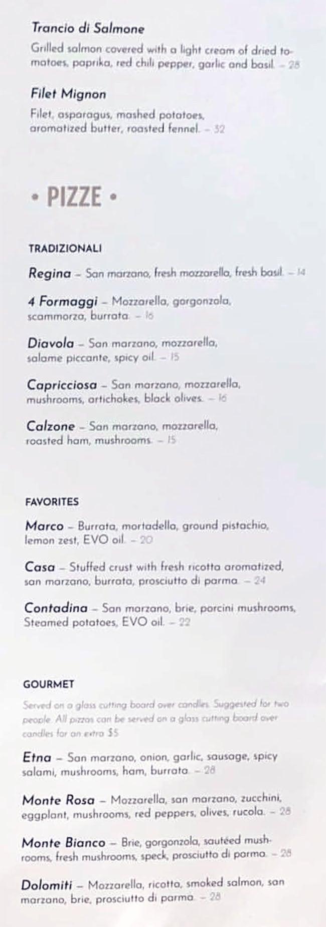 Osteria Amore menu - secondi, pizze
