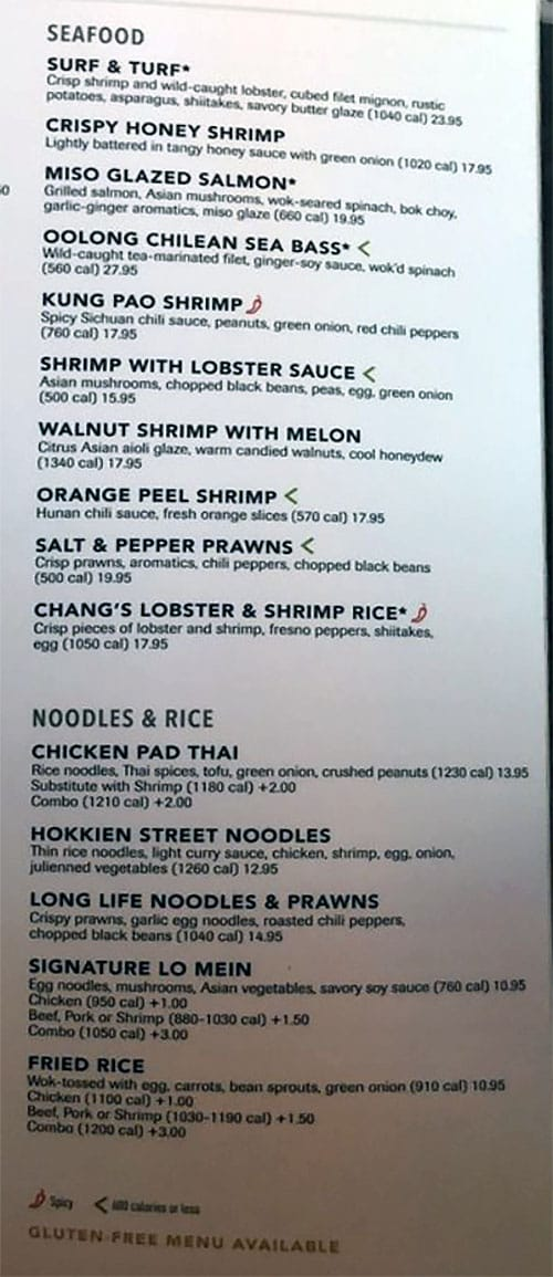 PF Chang's menu - seafood, noodles, rice
