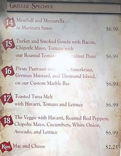 Pirate O's menu - grilled specials