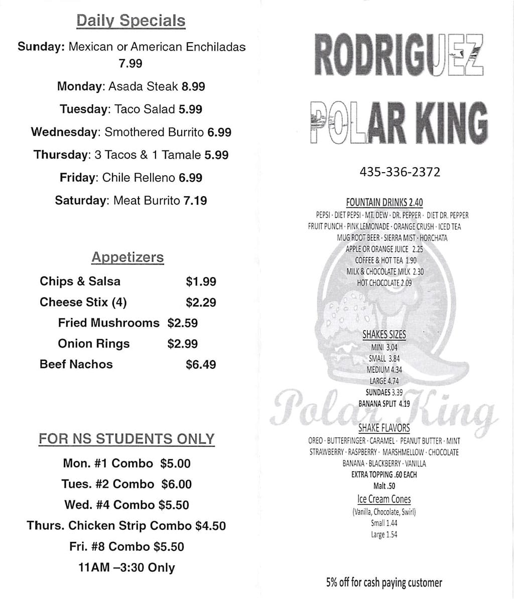 Polar King Drive-Inn menu - daily specials, appetizers, drinks, shakes