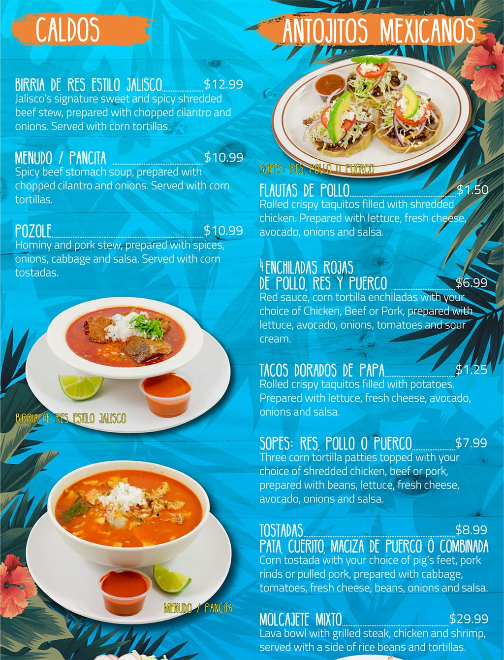 Puerto Vallarta Mexican Grill menu - caldos, antojitos mexicanos