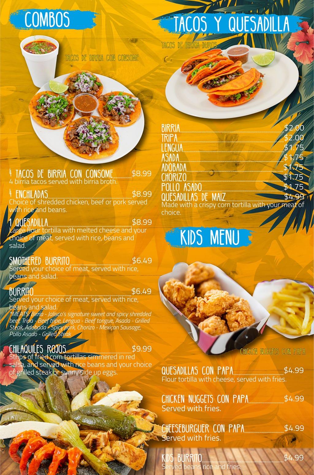 Puerto Vallarta Mexican Grill menu - combos, kids
