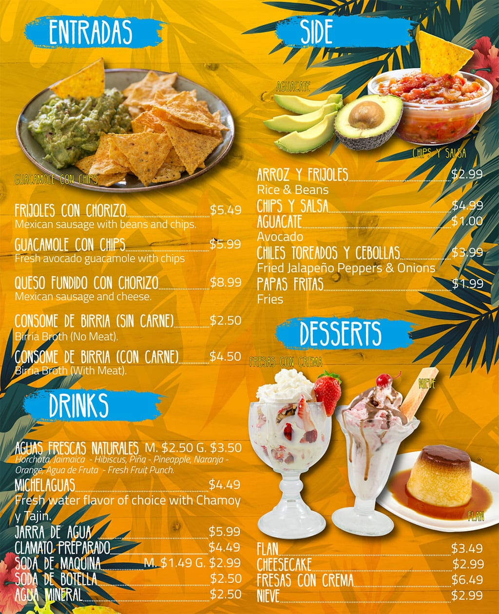 Puerto Vallarta Mexican Grill menu - entradas, sides, drinks, desserts