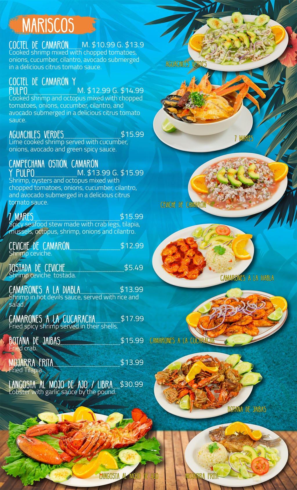 Puerto Vallarta Mexican Grill menu - mariscos