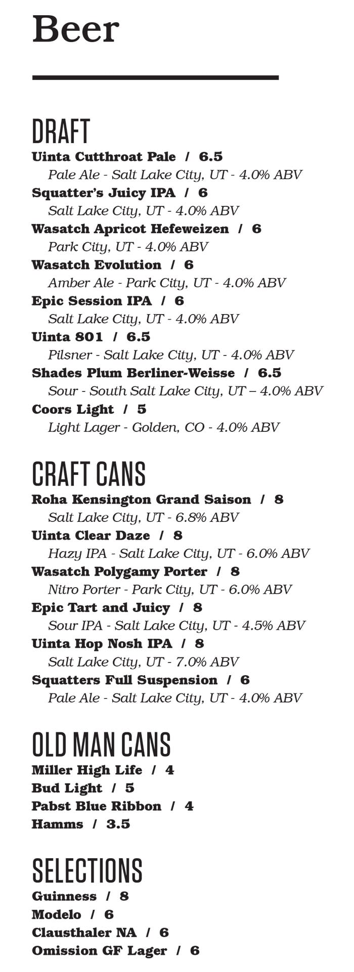 Punch Bowl Social Salt Lake City bar menu - beer