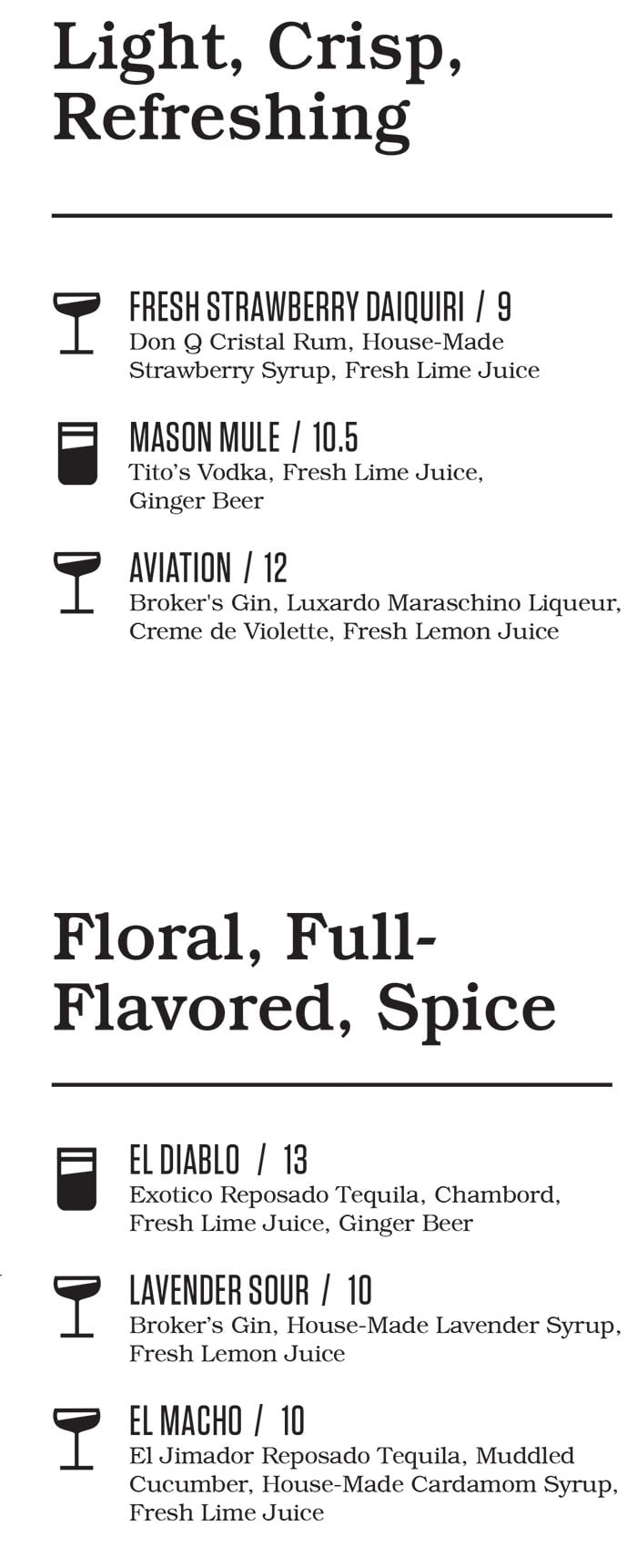 Punch Bowl Social Salt Lake City bar menu - cocktails