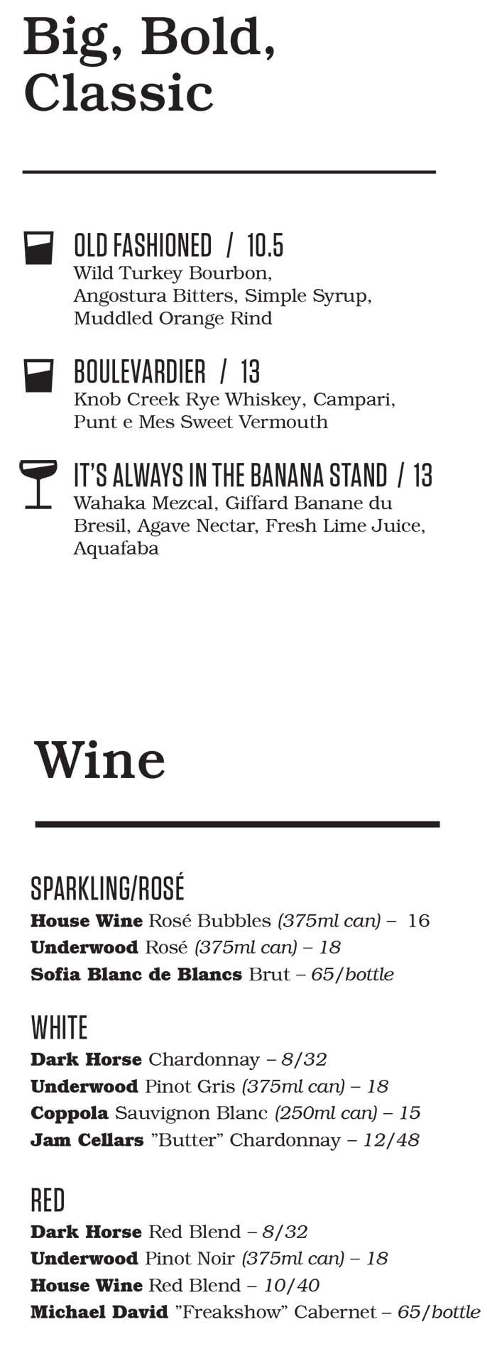 Punch Bowl Social Salt Lake City bar menu - more cocktails, wine