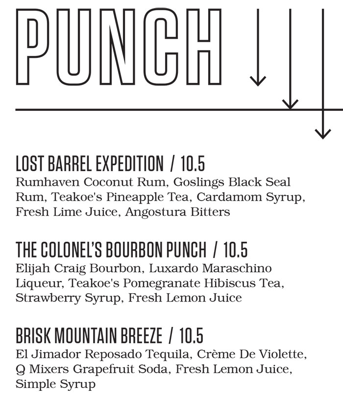 Punch Bowl Social Salt Lake City bar menu  punch