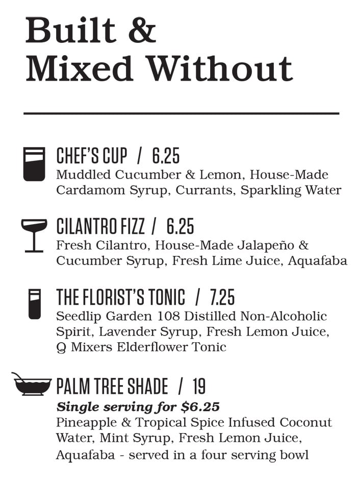Punch Bowl Social Salt Lake City brunch menu - alcohol free