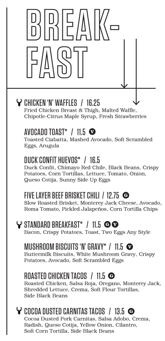Punch Bowl Social Salt Lake City brunch menu - breakfast food