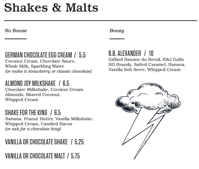 Punch Bowl Social Salt Lake City brunch menu - shakes and malts