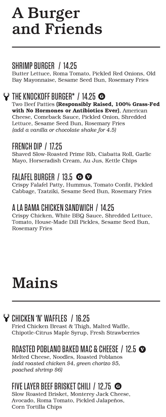 Punch Bowl Social Salt Lake City menu - burgers, mains