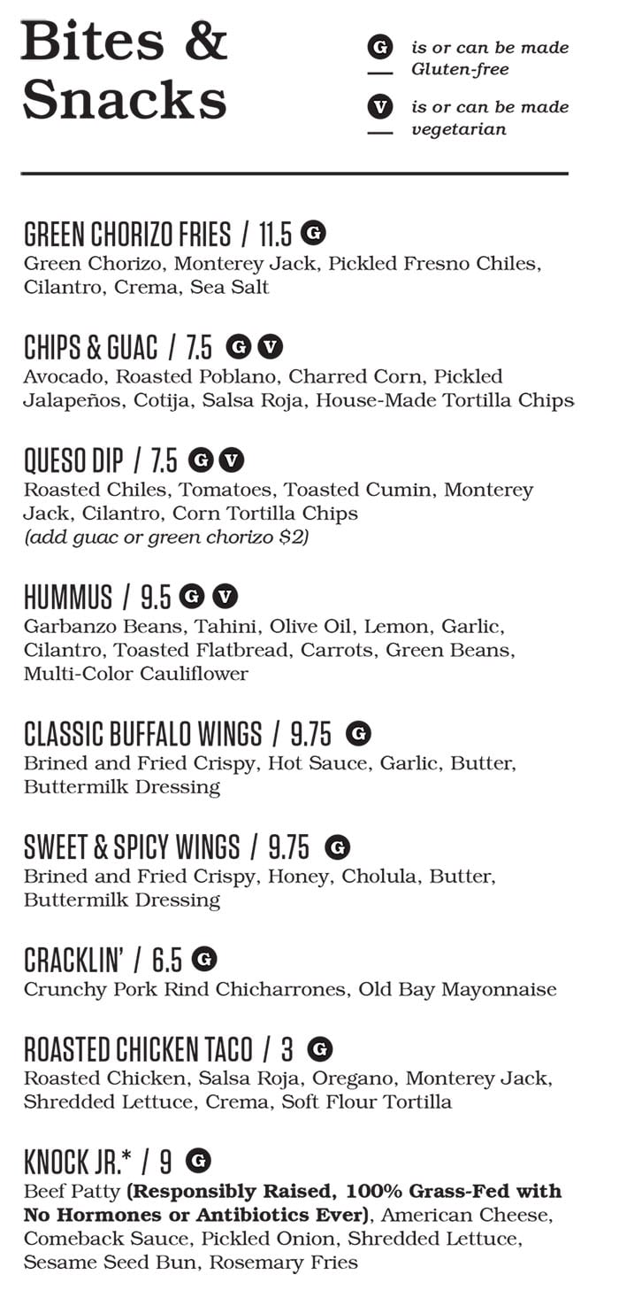 Punch Bowl Social Salt Lake City menu - happy hour bites and snacks
