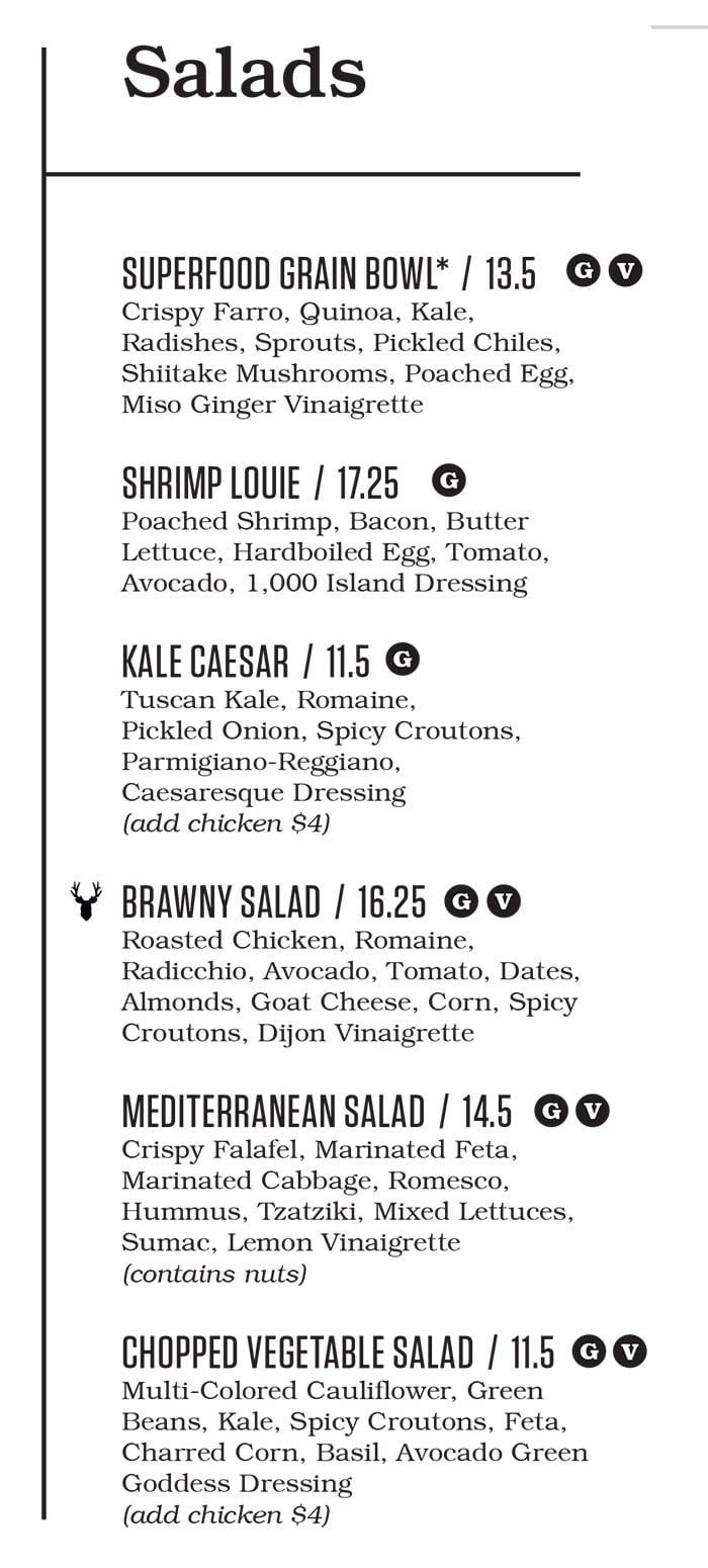 Punch Bowl Social Salt Lake City menu - salads