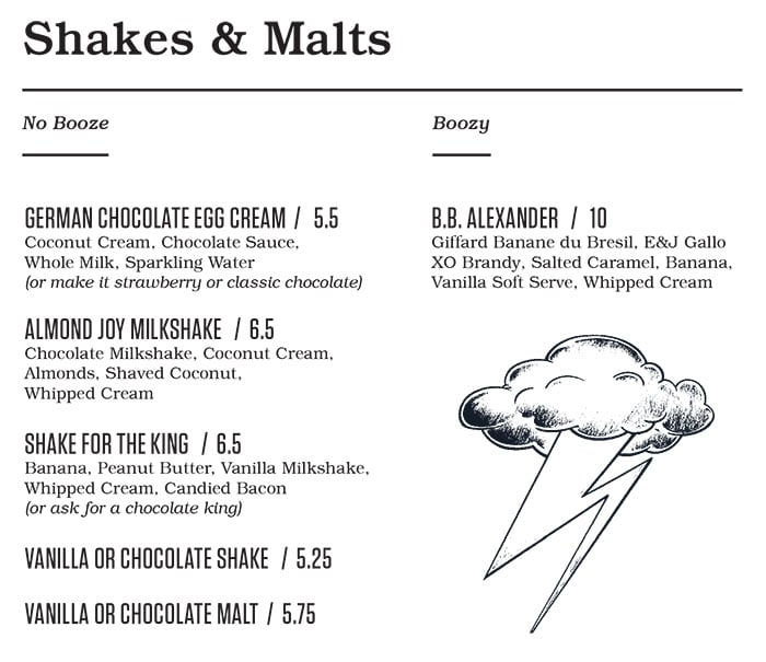 Punch Bowl Social Salt Lake City menu - shakes, malts