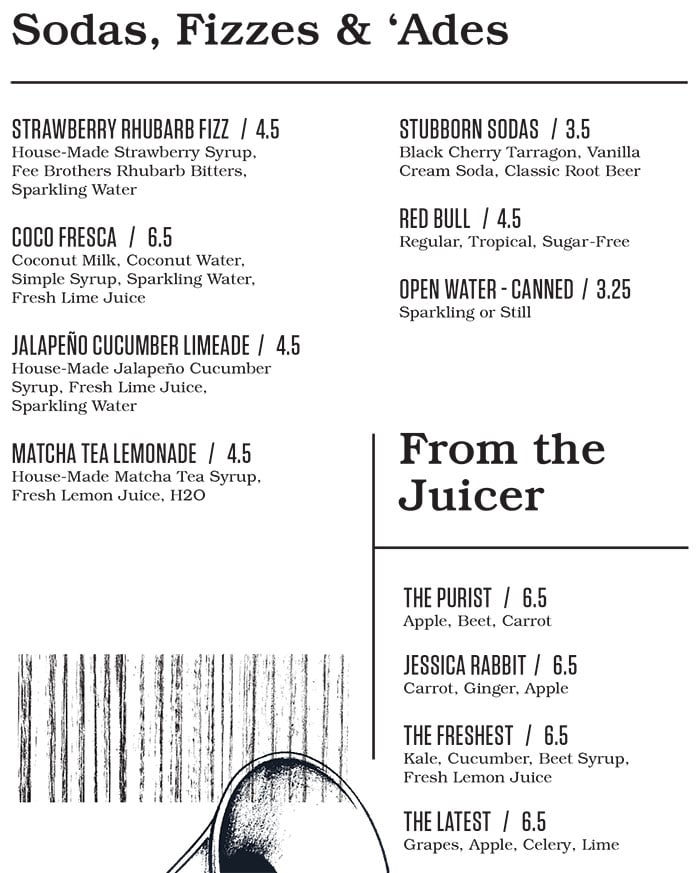Punch Bowl Social Salt Lake City menu - soda, fizzes, ades, juices