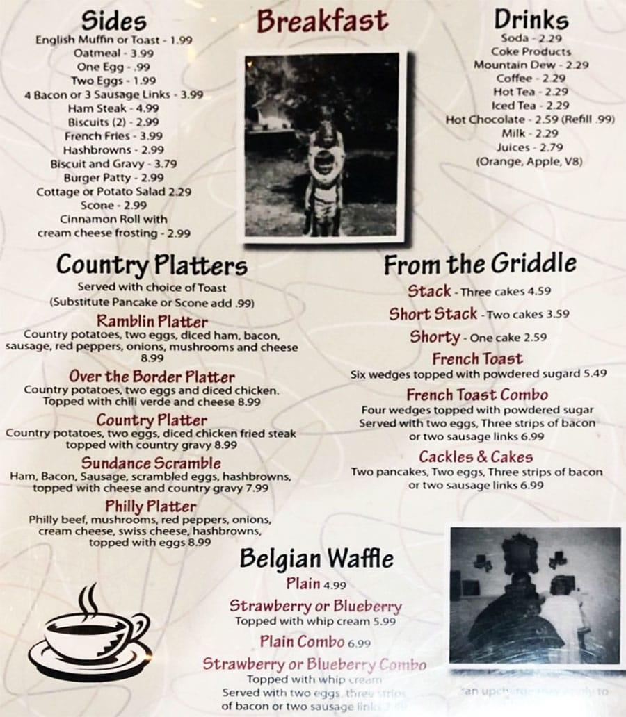 Ramblin Roads Diner menu - breakfast, sides, platters, griddle, waffle