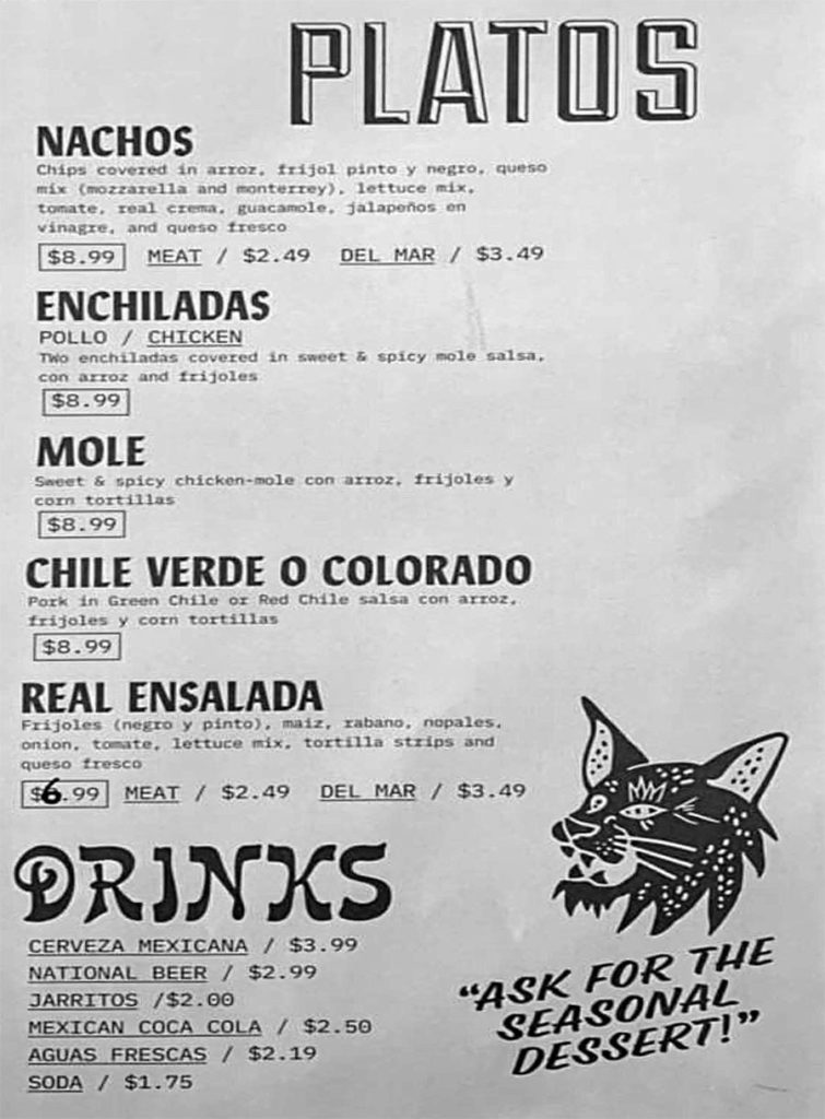 Real Taqueria menu - platos, drinks