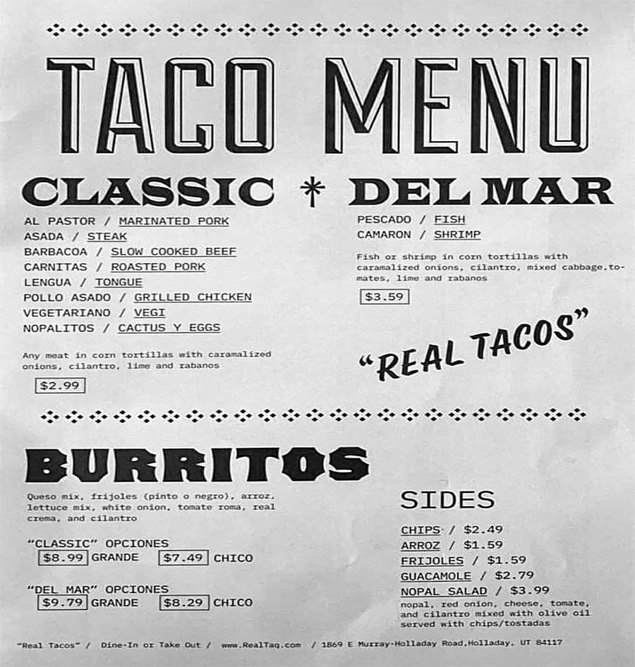 Real Taqueria menu - tacos, burritos