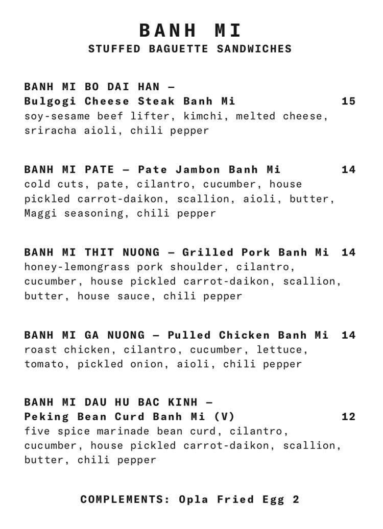 SAOLA Restaurant menu - banh mi