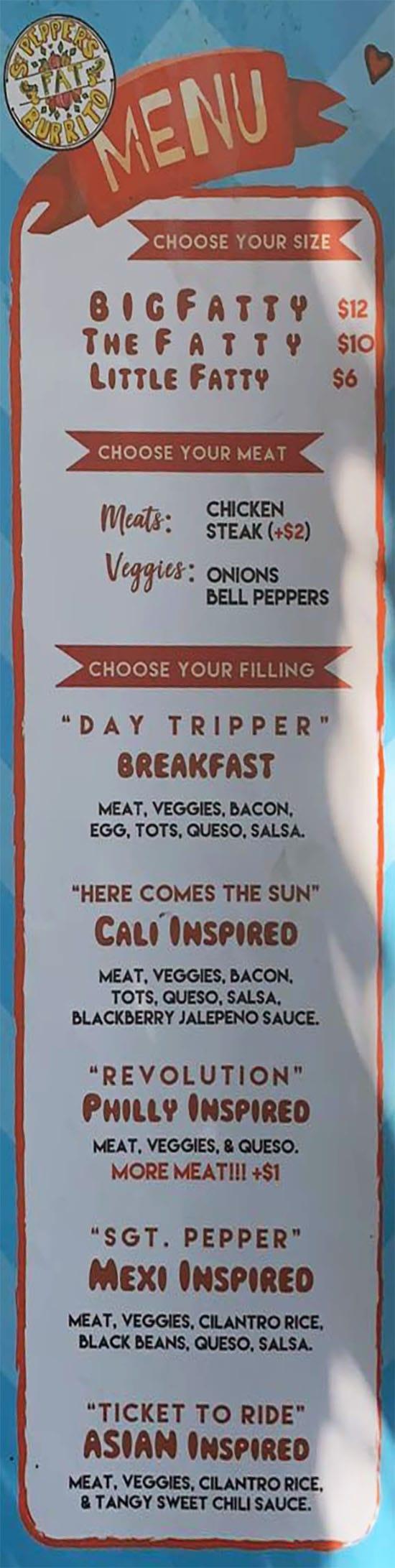 Sgt. Pepper's FAT Burrito food truck menu - size, meat, filling