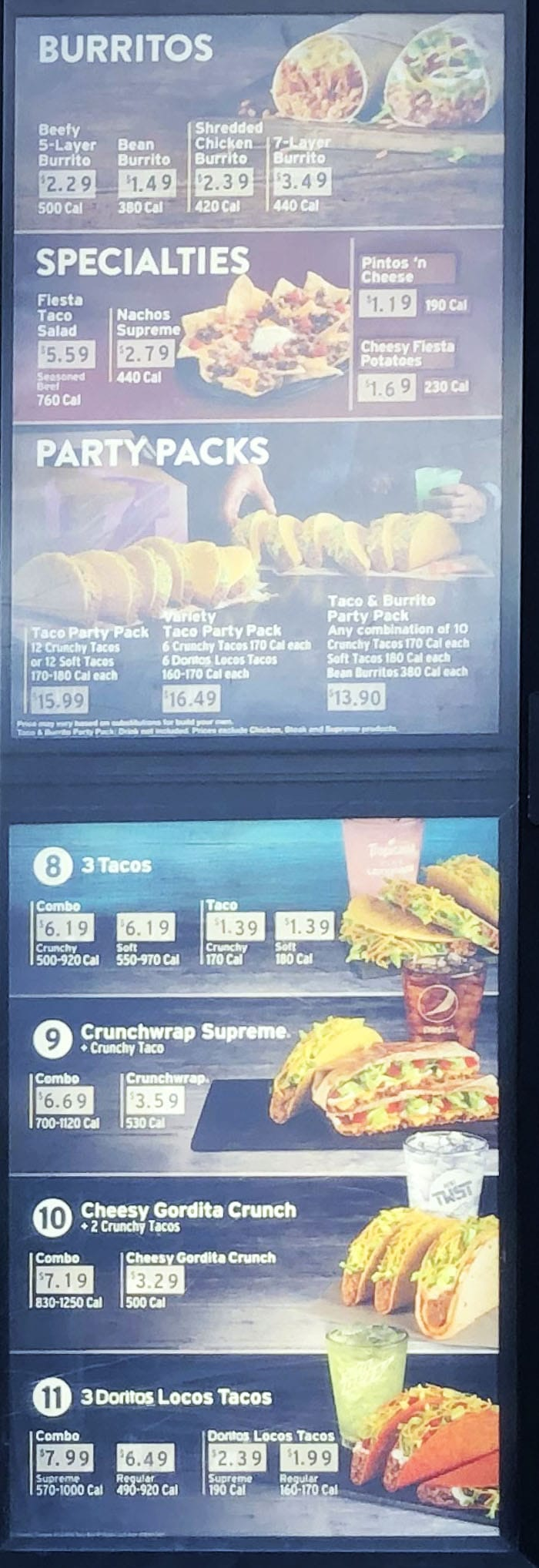 Taco Bell menu - burritos, party packs, more combos