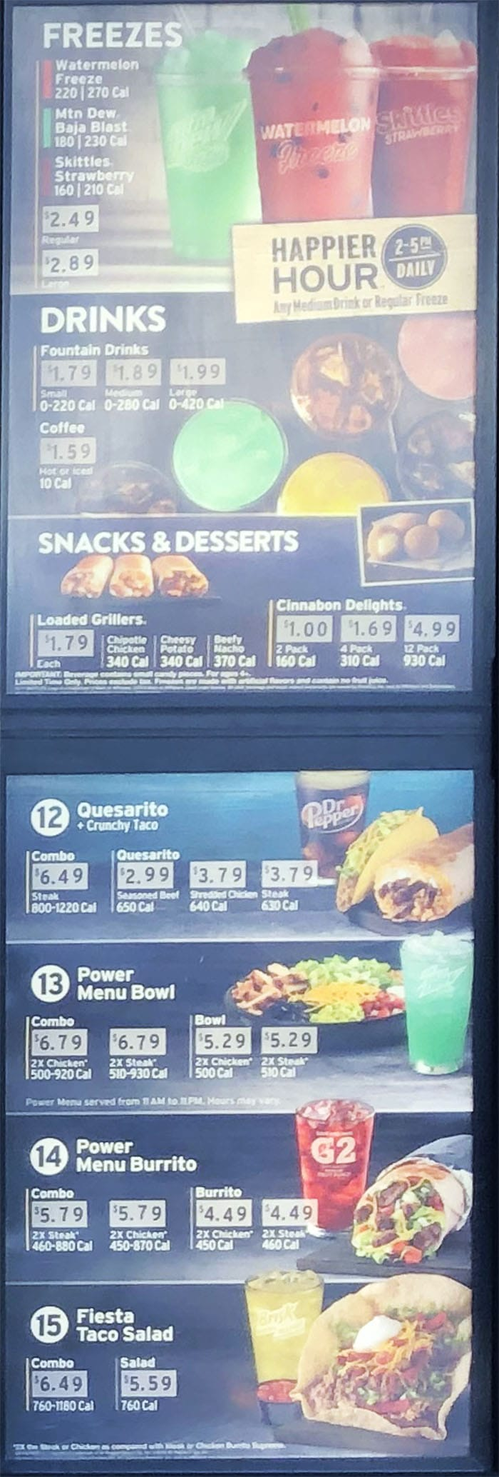 Taco Bell menu - freezes, drinks, desserts, more combos