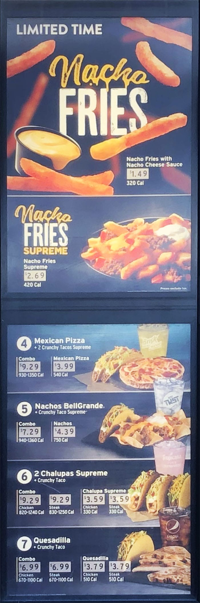 Taco Bell menu - nacho fries, more combos