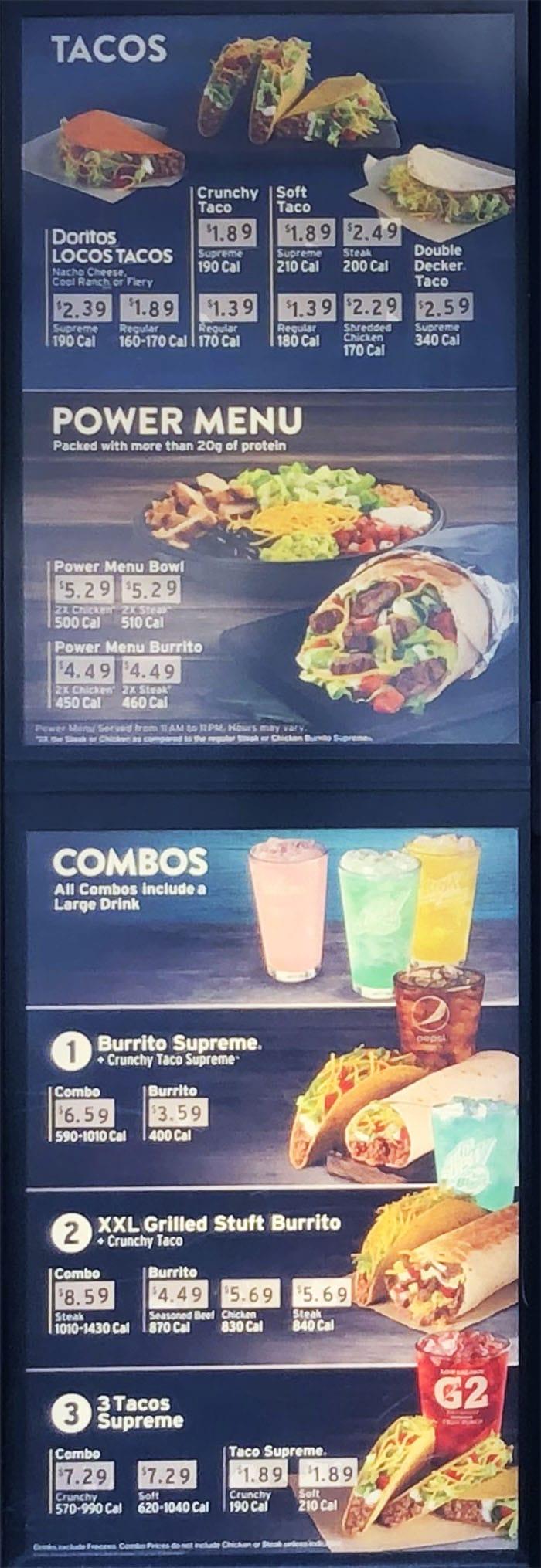 Taco Bell menu - tacos, combos