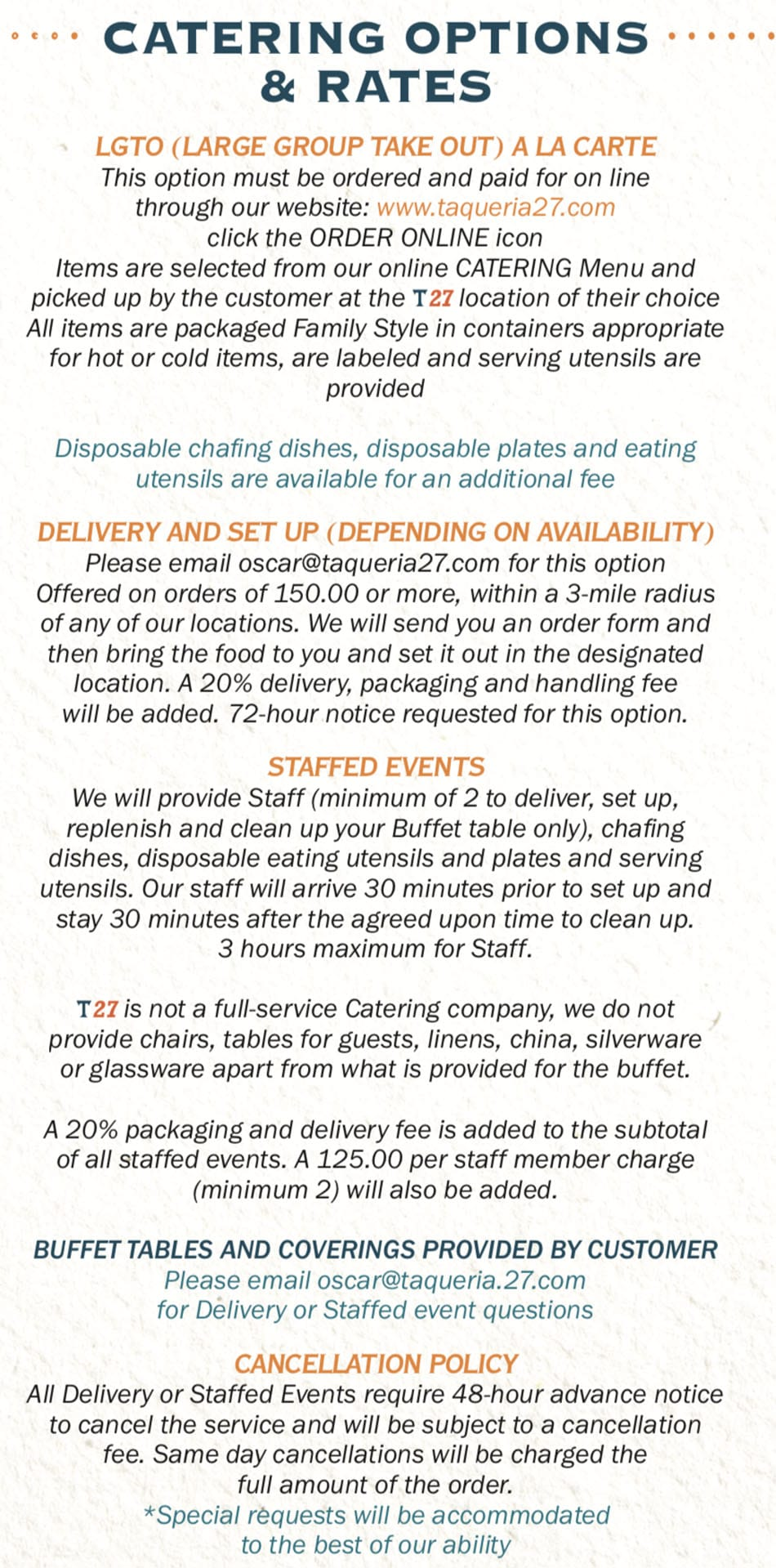 Taqueria 27 menu - catering options