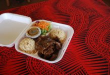 Teriyaki beef and brown rice (Honolulu Gril)