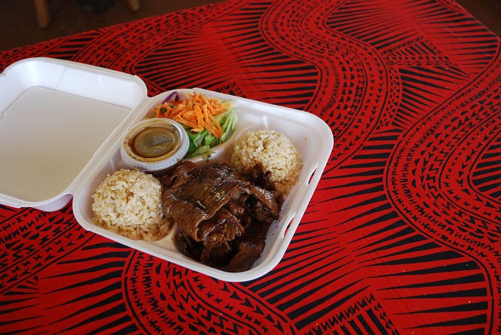 Teriyaki beef and brown rice (Honolulu Gril)