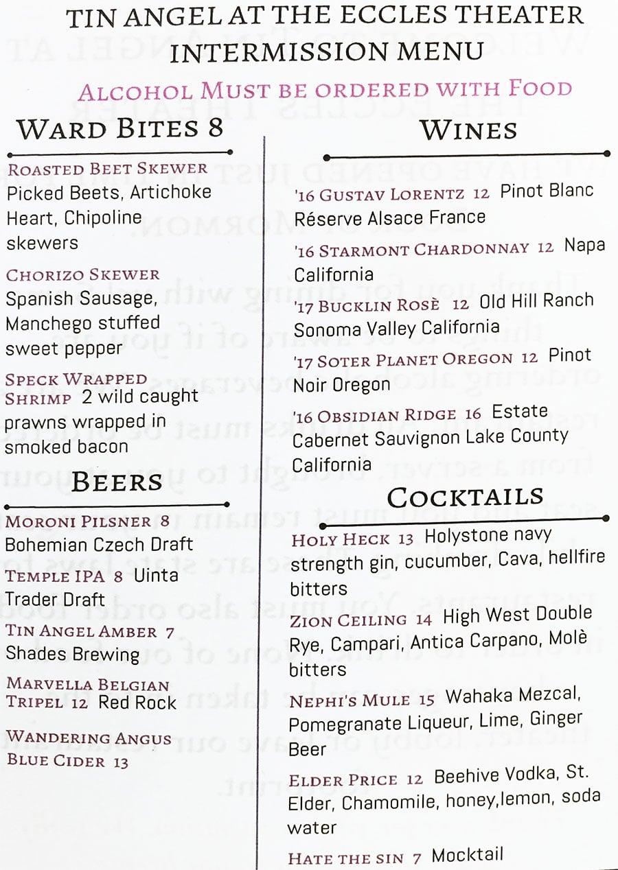 Tin Angel Eccles menu - wine, beer, cocktails