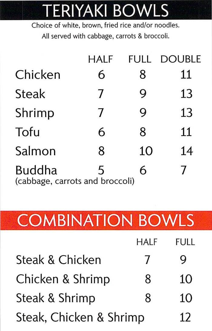 Tokyo Teriyaki menu - teriyaki bowls, combo bowls