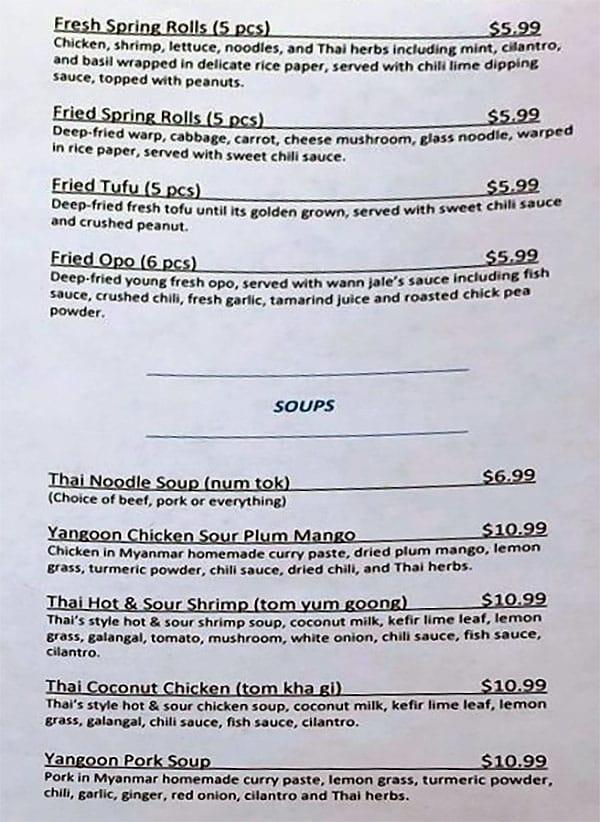 Wann Jale menu - appetizers, soups