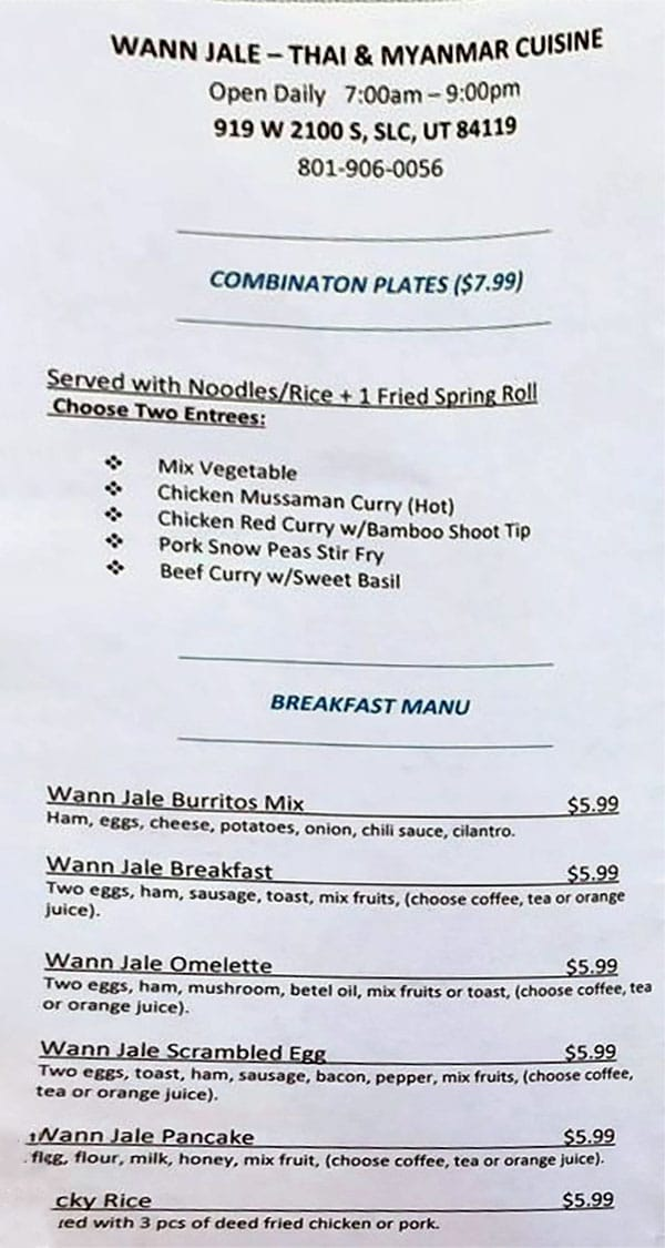 Wann Jale menu - combos, breakfast