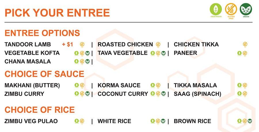 Zimbu menu - pick entree