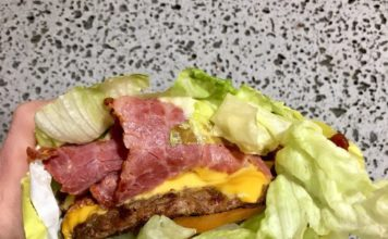 Olympus Burger - lettuce wrapped pastrami cheeseburger (Lacey T)