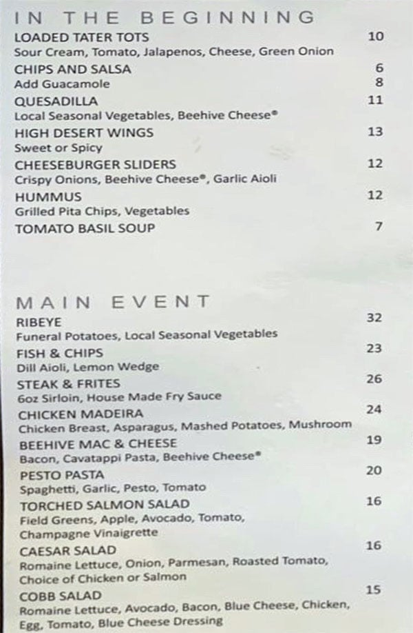 5th Street Grill menu - appetizers, entrees