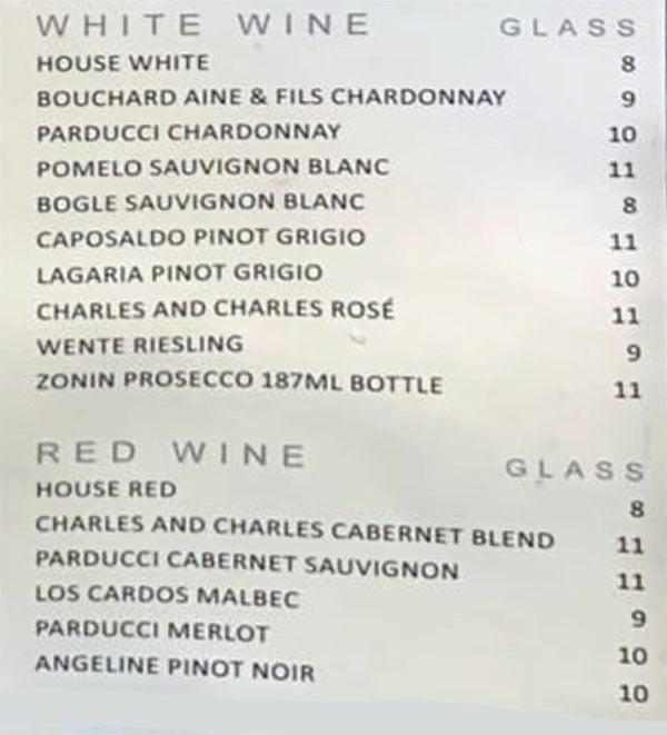 5th Street Grill menu - wine