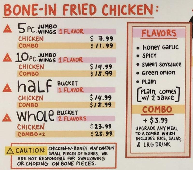 ChickQueen menu - bone in fried chicken