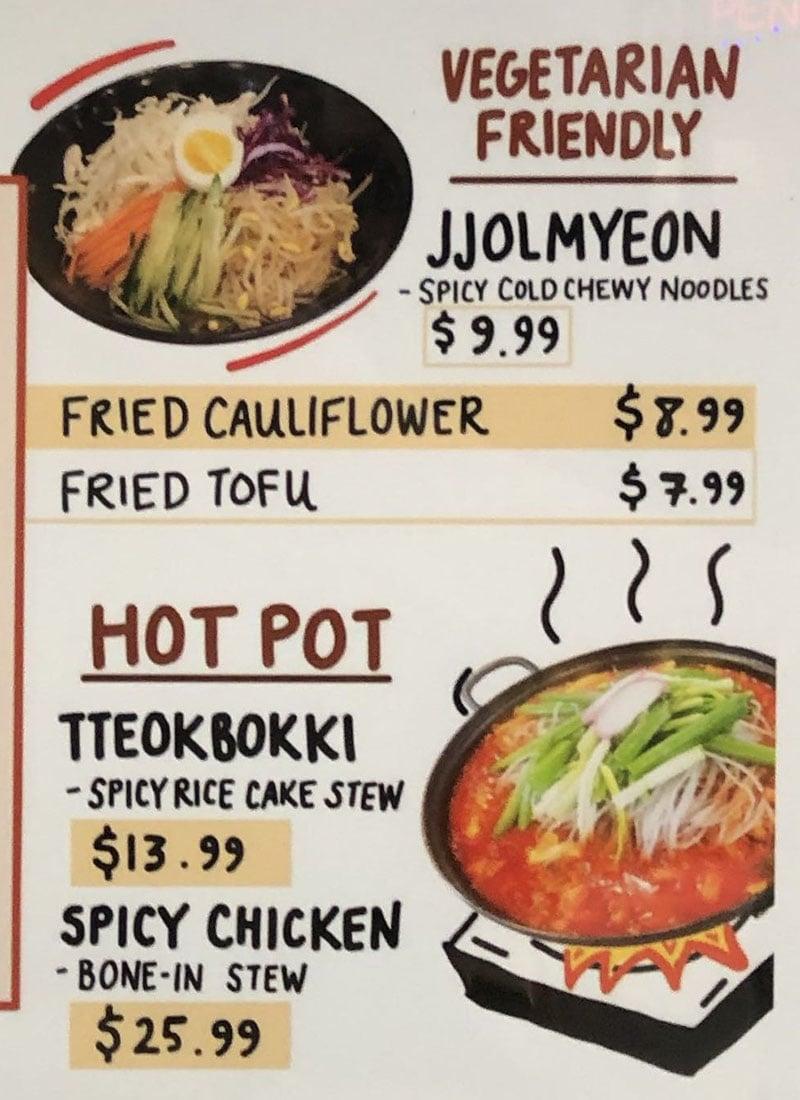 ChickQueen menu - hot pot, vegetarian friendly
