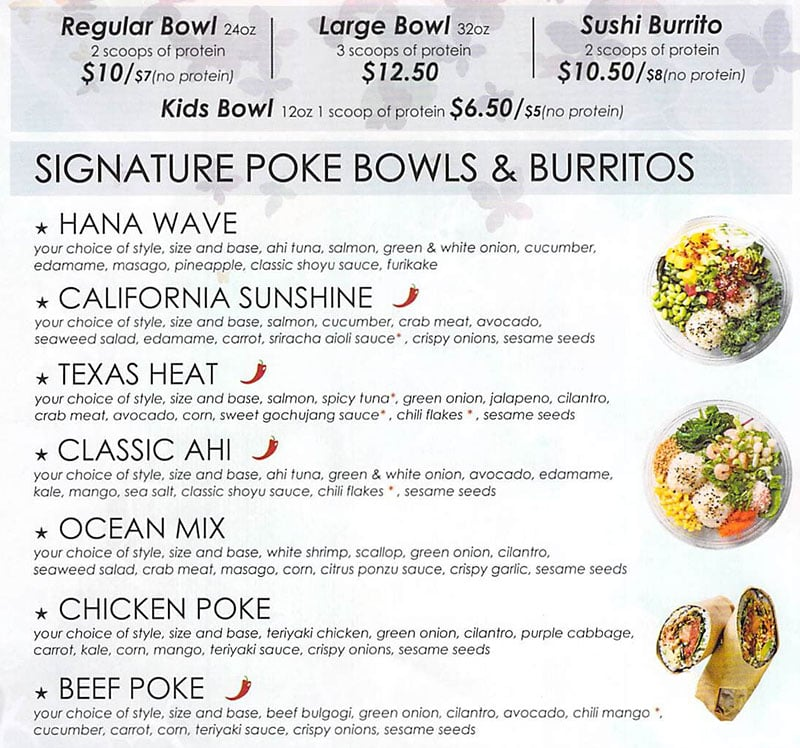 Hanaya Poke menu - poke bowls and burritos