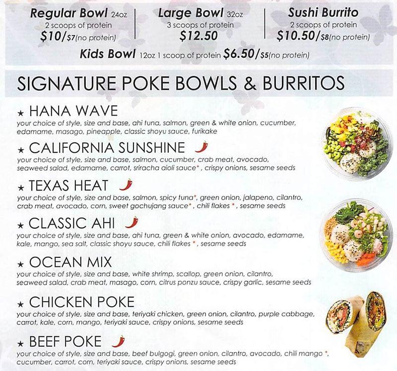 Hanaya Poke menu - poke bowls and burritos