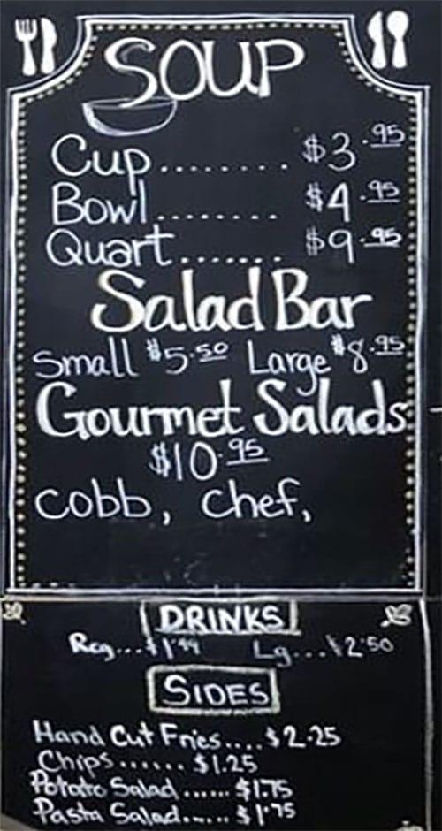 Lettuce And Ladles menu - soup, drinks, salads, rinks, sides