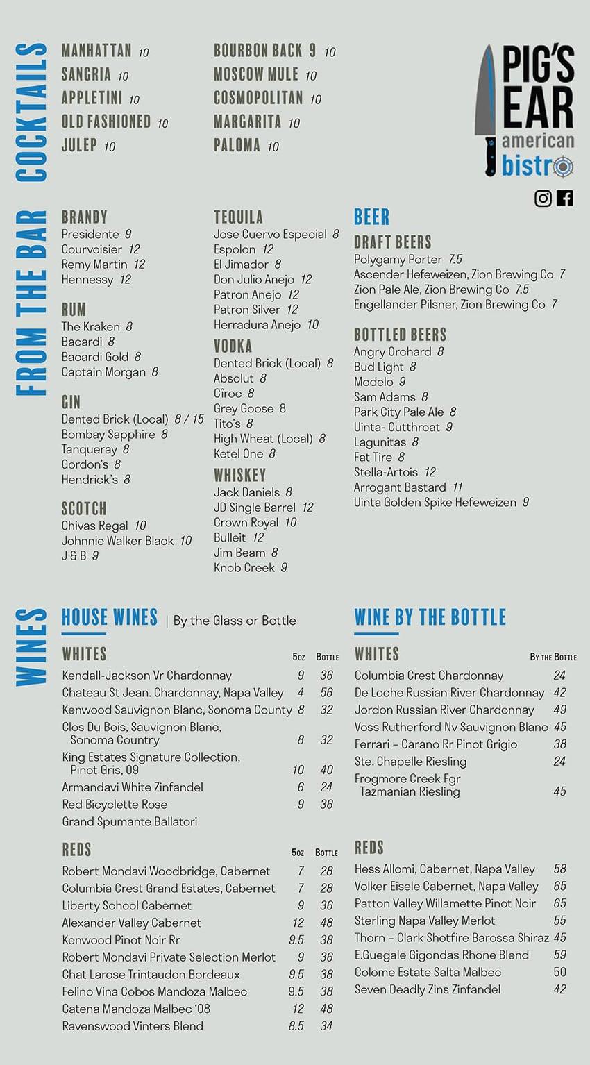 Pig's Ear American Bistro menu - beer, wine, cocktails