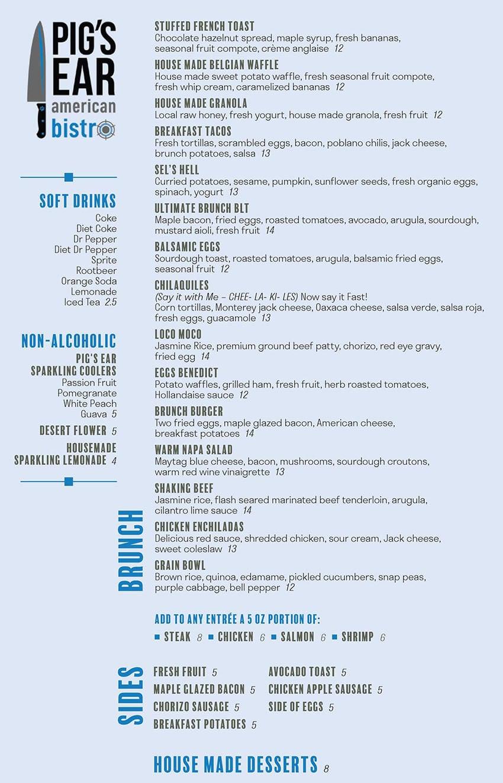 Pig's Ear American Bistro menu - brunch