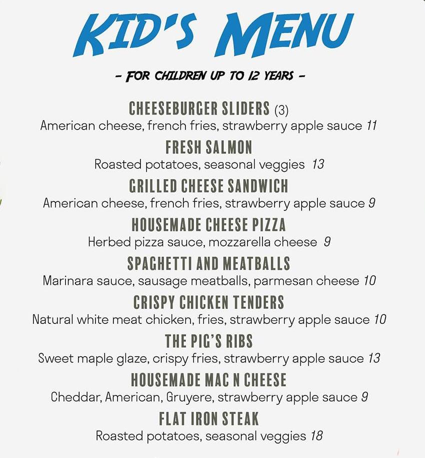 Pig's Ear American Bistro menu - kids menu